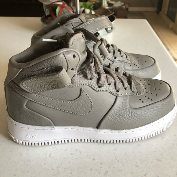 Nike Air Force Mid Grey Leather Shoes